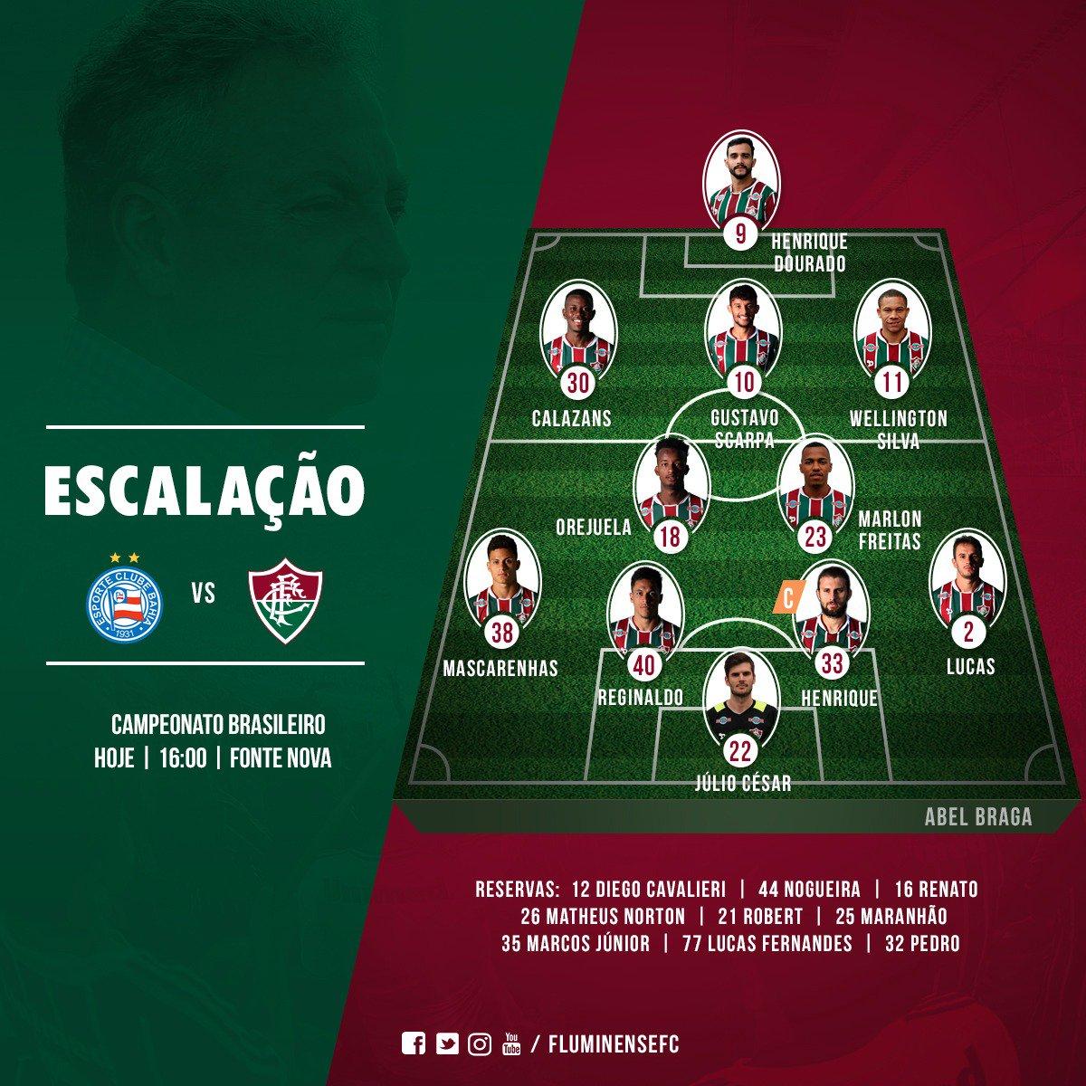 Tricolor escalado para enfrentar o Bahia na Fonte Nova! #SomosFluminense #PraCimaFluzão #DiaDeFlu #BAHxFLU