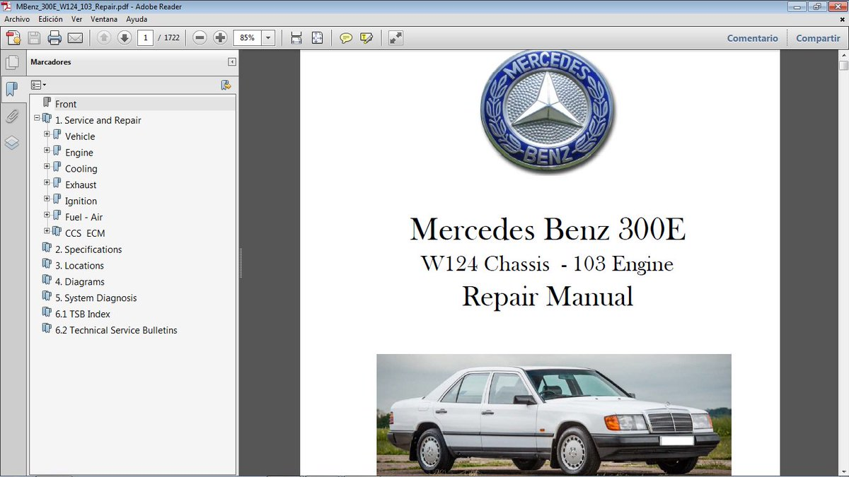 "rodolfo d. on Twitter: ""MERCEDES BENZ 300E chassis W124 motor 103. Manual  de Taller en formato pdf. [email protected] #MercedesBenz300E ..."