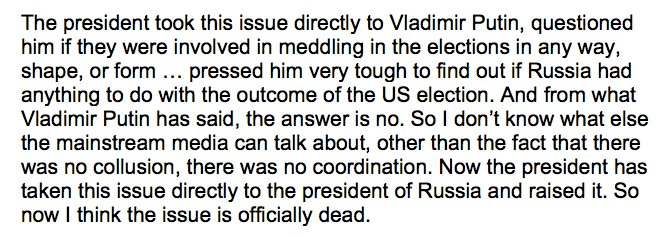 On Fox, Corey Lewandowski says Putin's firm denial ends the Russia story. https://t.co/vZbJEAY607