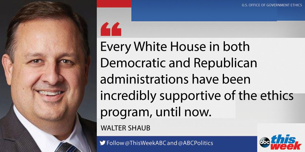 Outgoing ethics chief Walter Shaub: 'Every White House' has supported ethics program 'until now' https://t.co/glUyEFD9Ir #ThisWeek