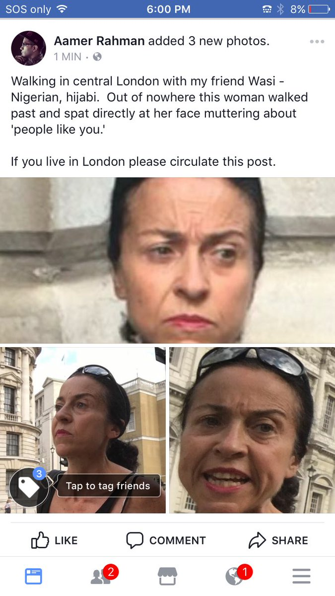 Just witnessed a hate crime against my friend in central London, pls circulate this post: