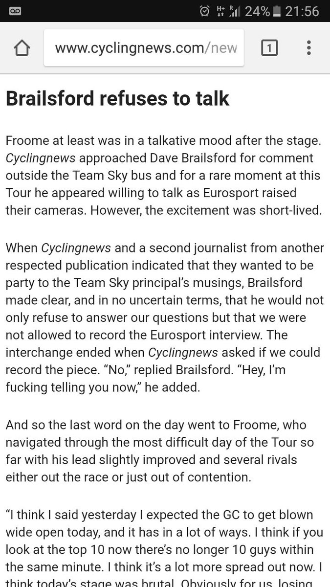 Knew I was blacklisted long ago but fuck it. Why can't I ask questions? A free press even in cycling is important. https://t.co/b4kqVF1JLG