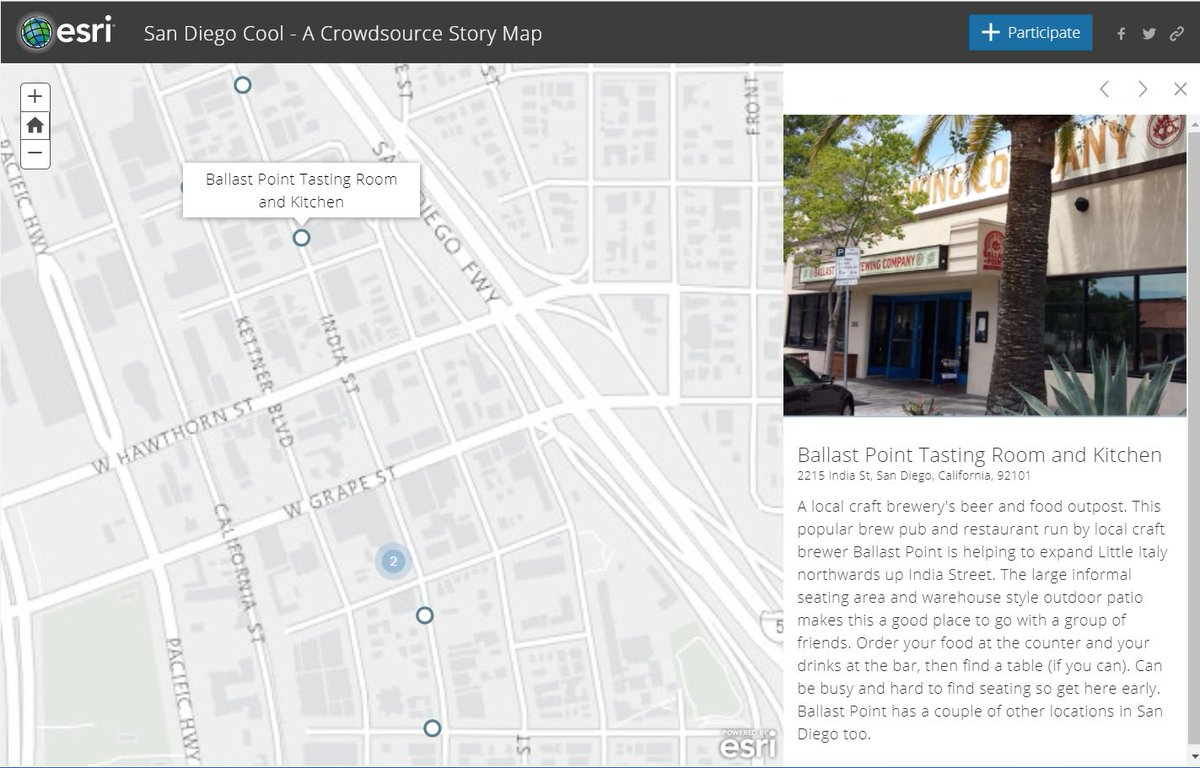 Little Italy San Diego Map.Esri Story Maps On Twitter Ballast Point Little Italy Is Now On