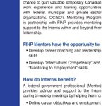 In the Federal Public Service in #Ottawa? Want to build your #leadership skills? Mentor a newcomer! https://t.co/WCdnrmmc2j #cdnimm