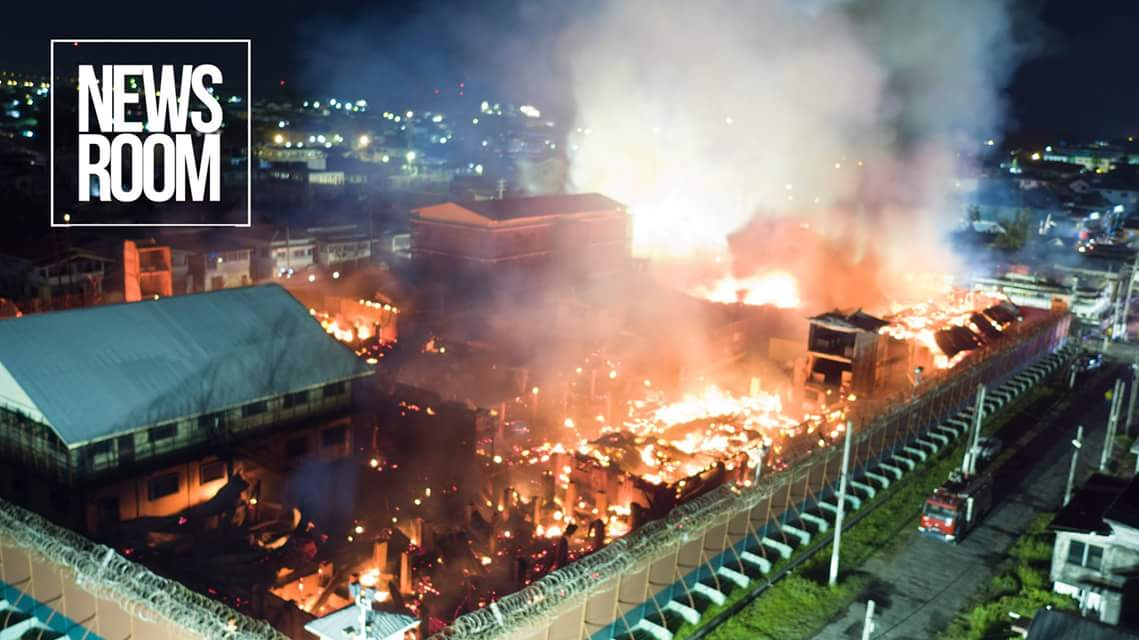 This News room photo shows the extent of the fiery destruction of the Camp Street Prison https://t.co/MT0YHbFiGH