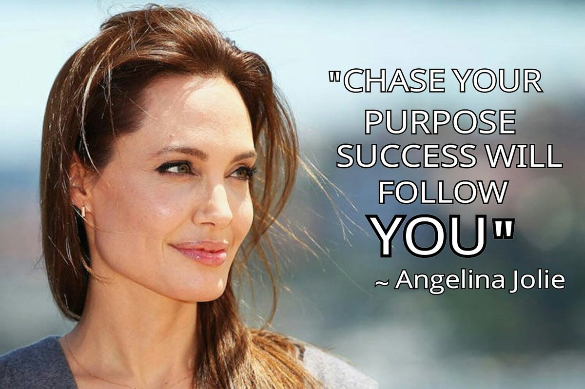 """""""Chase your Purpose Success will follow YOU"""" #AngelinaJolie #MondayMotivation #InspirationalQuotespic.twitter.com/gOR4qqGKbO"""