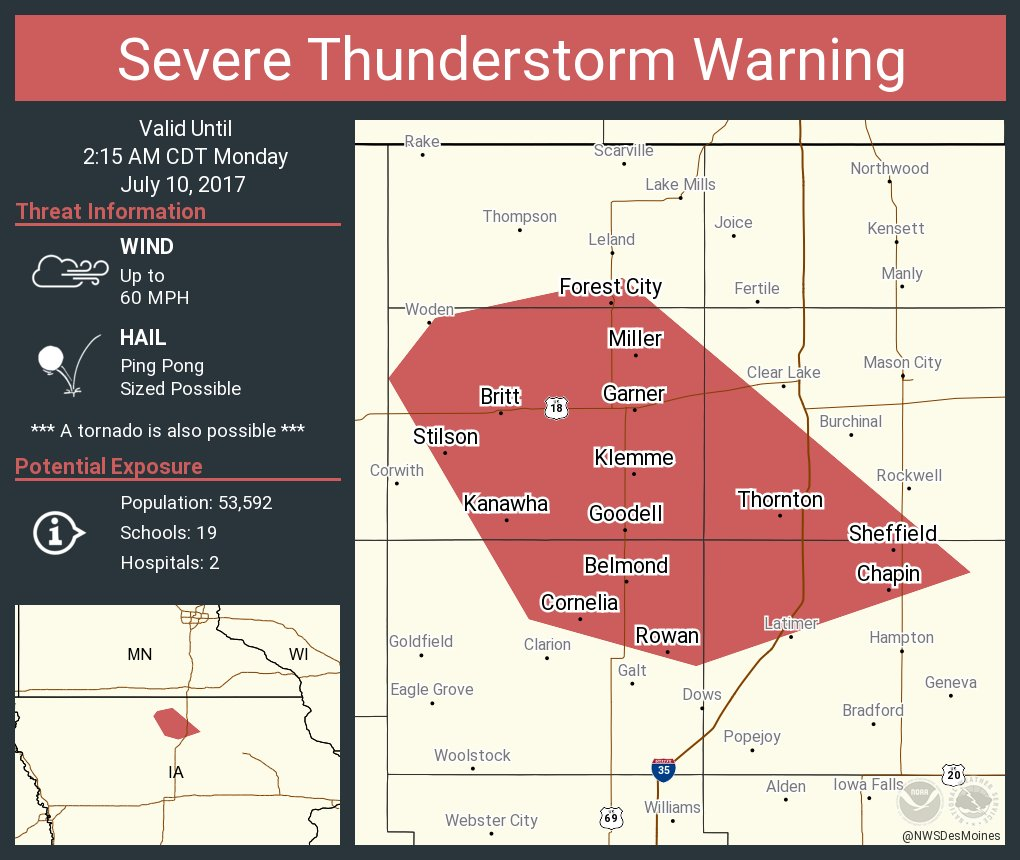 Garner Iowa Map.Nws Des Moines On Twitter Severe Thunderstorm Warning Including