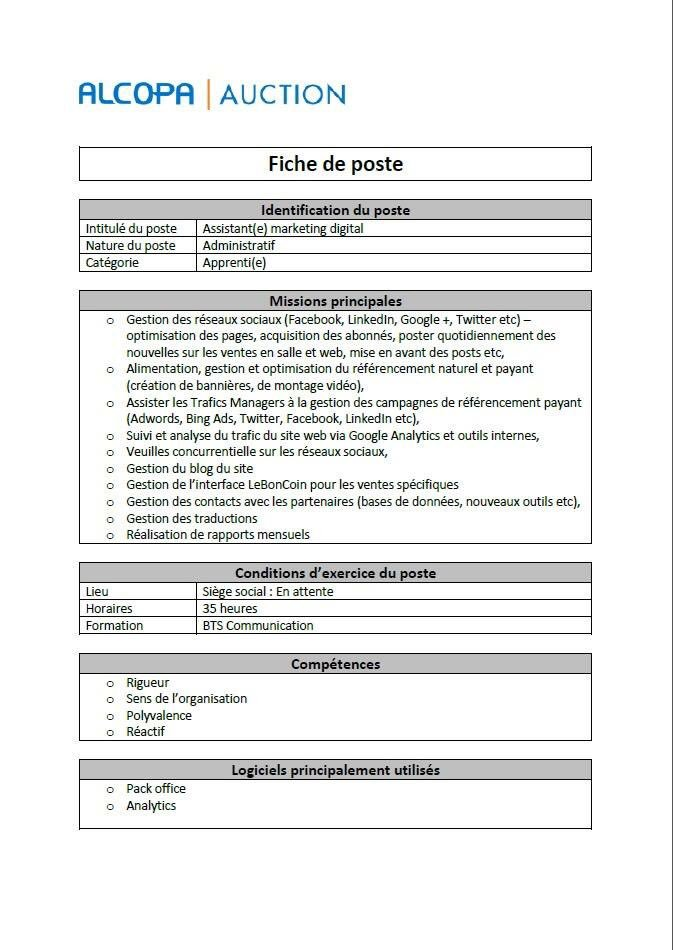 "Alcopa Auction on Twitter: ""Fiche de poste ! #assistant #marketing #digital #MarketingDigital # ..."