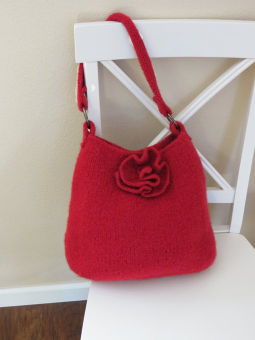 Knit Bag Pattern, Felted Purse Pattern, Knit Purse, Knitting Pattern, PDF Pattern, Red Rose