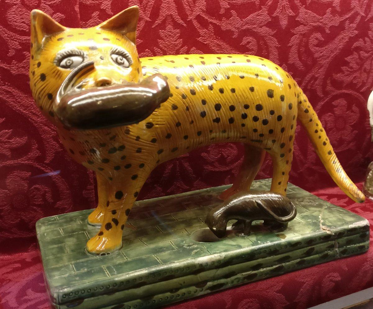 19thC Staffordshire ceramic figure of cat with kittens @BramptonMuseum #MewseumMonday @CuratorialCats