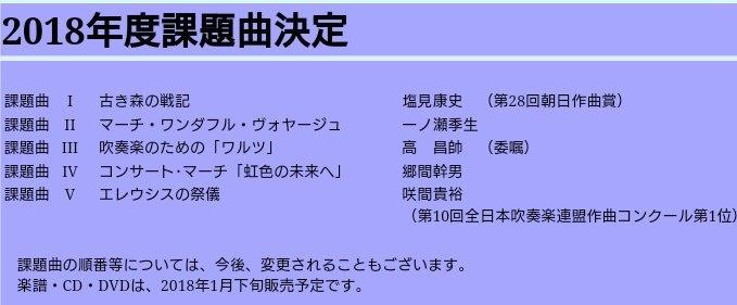 """山梨県吹奏楽連盟 on Twitter: """"2018年度 全日本吹奏楽コンクール課題 ..."""