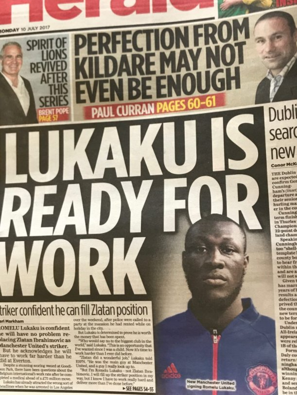 The Irish Herald publish a story about Lukaku. With a picture of Stormzy.