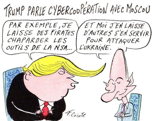 Discussion entre Trump et Poutine sur les #cyberattaques  http:// bit.ly/2tZqPLF  &nbsp;   #dessinLemagIt @FrancoisCointe<br>http://pic.twitter.com/zVeKHlm8fa