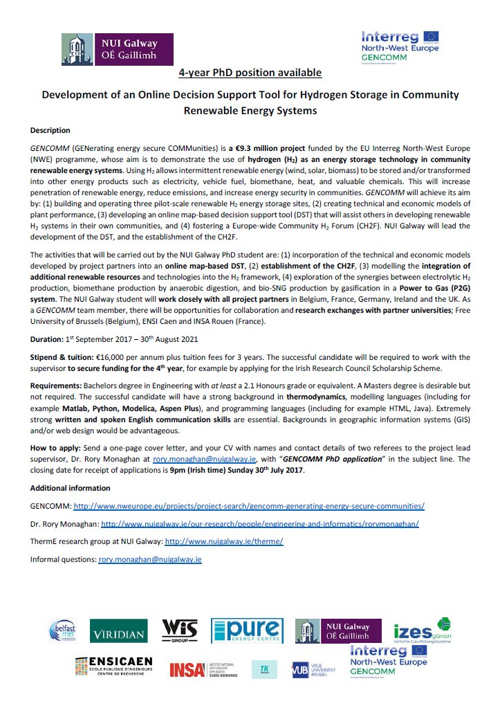 PhD position in #GENCOMM #RenewableEnergy #hydrogen project @nuigalway! @INTERREG_NWE @ResearchatNUIG @RyanInstitute  https://www. findaphd.com/search/Project Details.aspx?PJID=87778 &nbsp; … <br>http://pic.twitter.com/mWPizOye8V