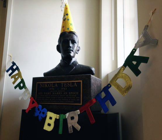 Come visit the #NikolaTesla bust in Barker Library to commemorate his birthday! 📷: @mitlibraries