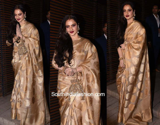 Rekha in a Gold Kanjeevaram Saree • South India Fashion