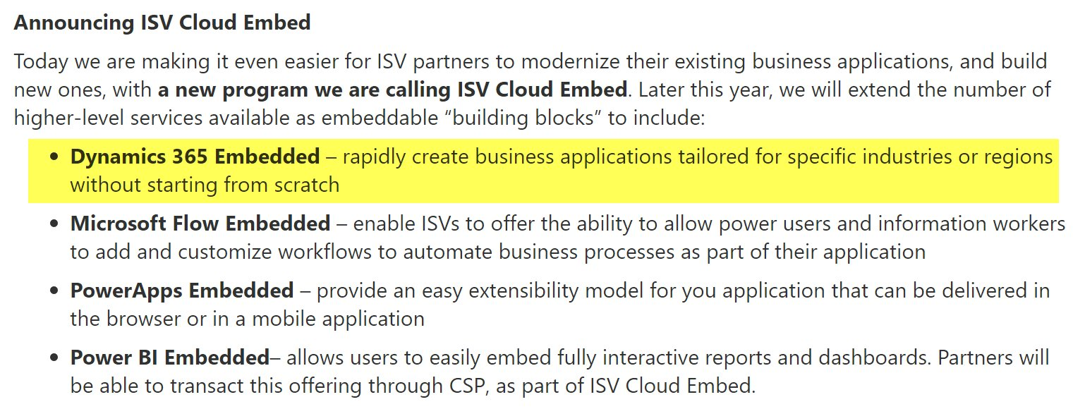 Dynamics 365 Embedded to be launched later this year in #MSFT new ISV Cloud Embed program: https://t.co/XKGR0TBVpo #MSDyn365 #MSInspire https://t.co/igXKwdqIU8