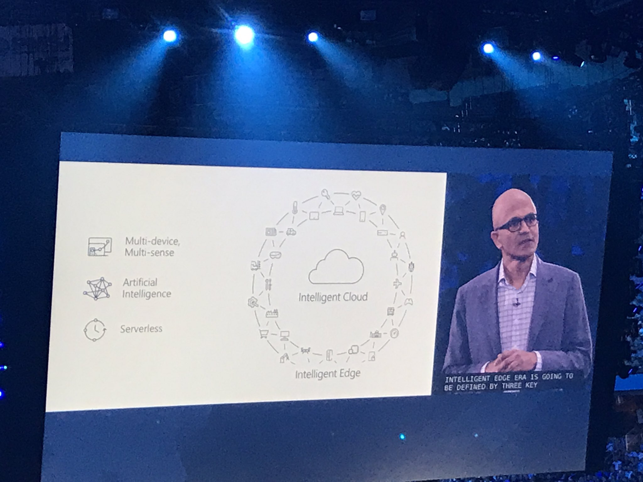 Move away from Mobile-First Cloud-First : Intelligent-Cloud Intelligent-Edge - @satyanadella #MsInspire @Microsoft #Cloud #AI #Technology https://t.co/hqh1YCwOSD