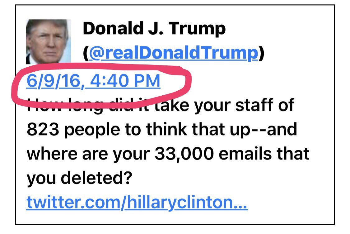Guess what @realDonaldTrump did the same day Jr, Manafort, Kushner met that Russian? He sent his 1ST tweet about Hillary's '33,000 emails'