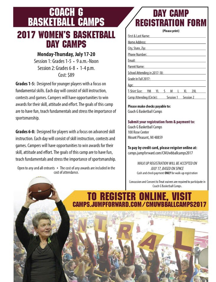 Central Michigan Wbb On Twitter One More Week Until Day Camps