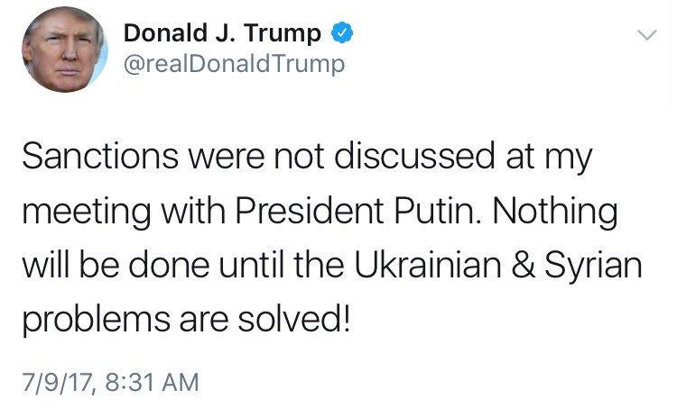 Trump yesterday: I didn't talk sanctions with Putin.   Trump spokesperson just now: Trump talked sanctions with Putin.