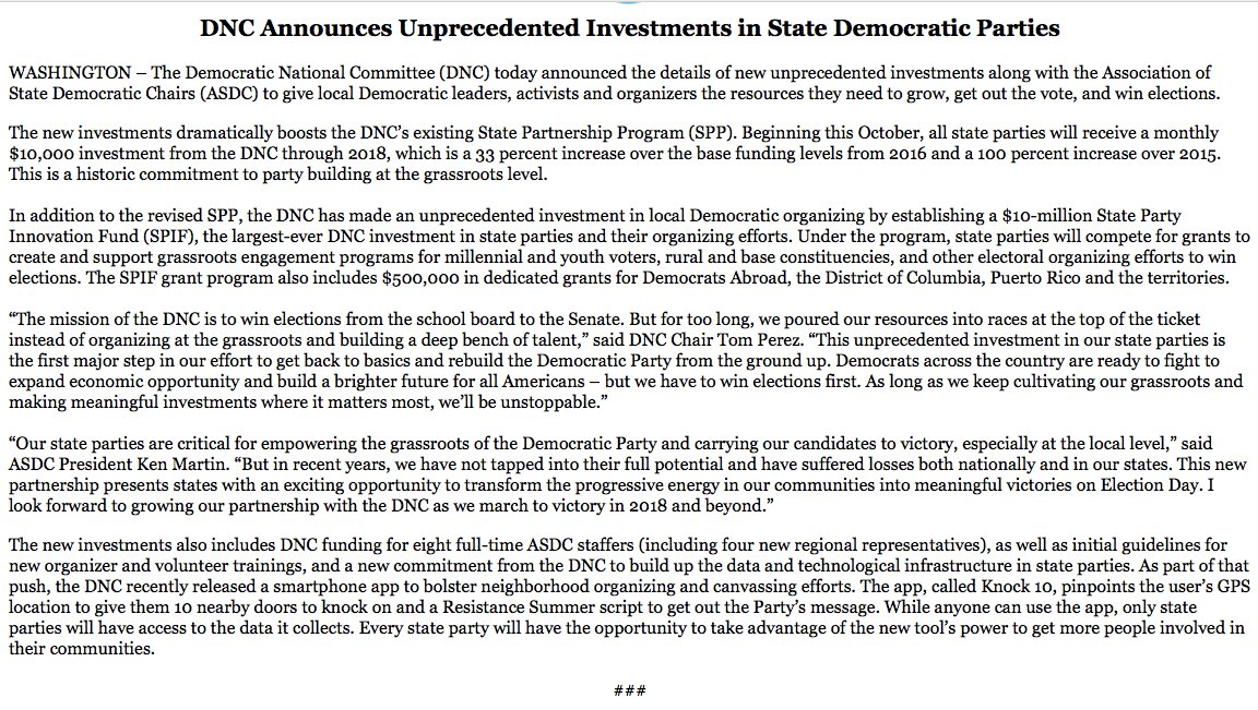Inbox: The #DNC is giving state parties $10K/month, creating a $10M fund for competitive grants and funding 8 state-focused staff jobs.