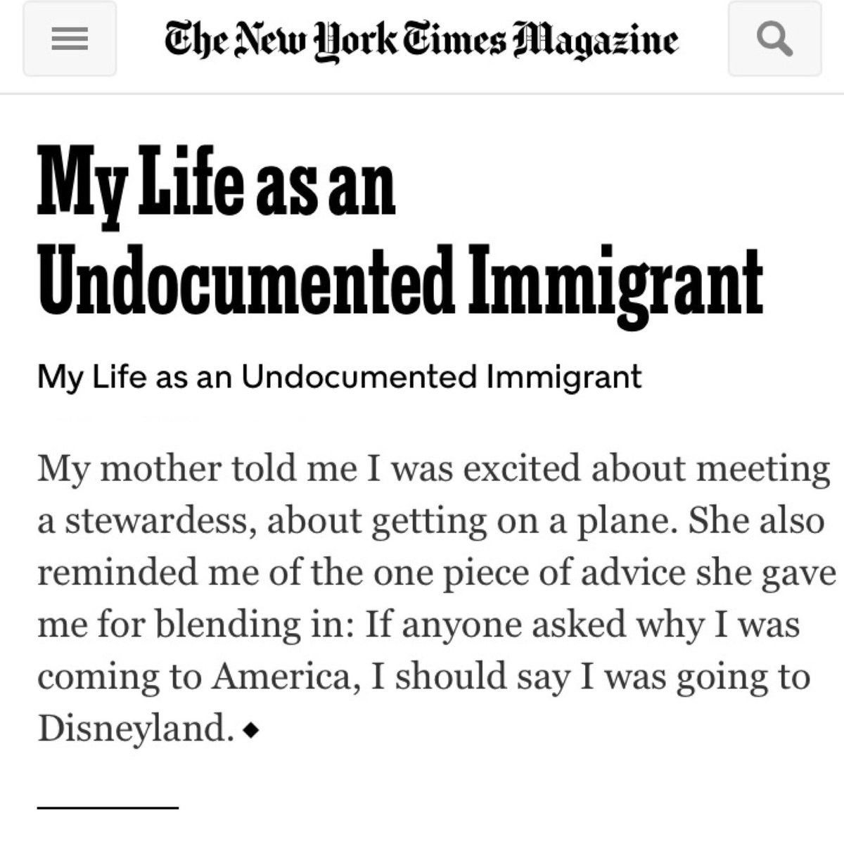 Global Warming Essay Thesis  As The Last Sentence Of This Nytimes Essay Showed  Httpsmobilenytimescommagazinemylifeasanundocumentedimmigranthtml   Research Essay Proposal also Proposal Essay Topics Ideas Jose Antonio Vargas On Twitter Disneyland Holds A Special Place In  Essay Of Health