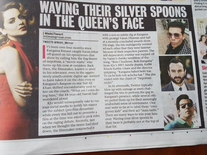 Those with a silver spoon normally have grace and dignity ...these three are ..well illiterate  #KanganaRocks https://t.co/KsDbb4fi8E