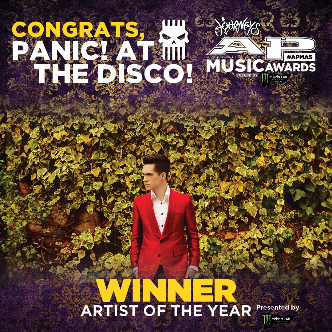 Congratulations to @PanicAtTheDisco, your ARTIST OF THE YEAR, presented by @MonsterEnergy! #APMAs