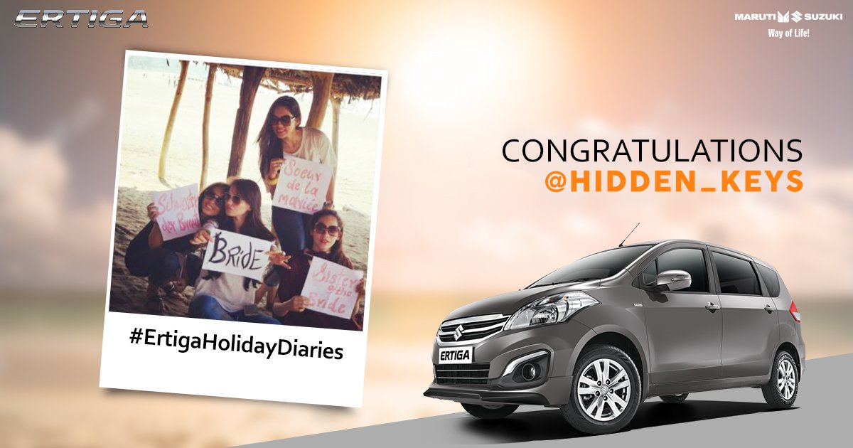 We congratulate all our winners! Please DM your contact details to us.  Thank you for participating in the #ErtigaHolidayDiaries contest! https://t.co/WpSu7emgGc