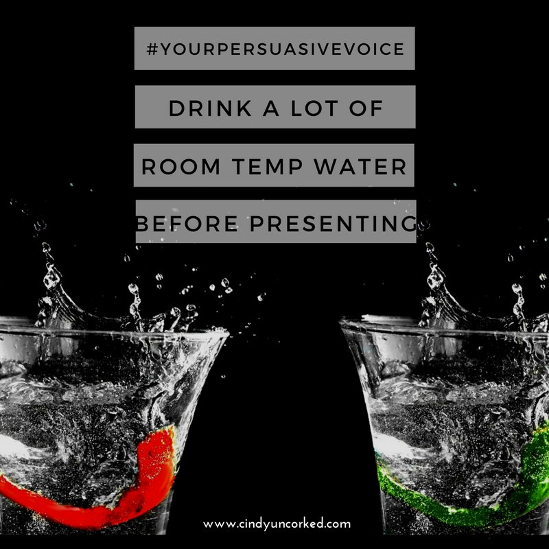 Drink tons of room temperature water 24hrs before your presentation! #SpeakingTips #YourPersuasiveVoice    http:// dlvr.it/PWMzPq  &nbsp;  <br>http://pic.twitter.com/6MKM4Ba89G