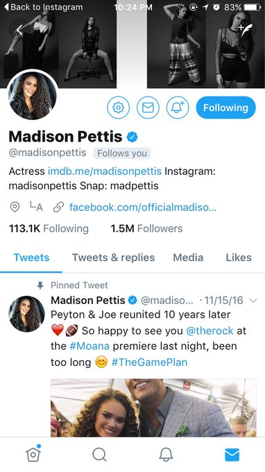Throwback to when madison pettis followed me out of nowhere and then dmed me happy birthday on my birthday