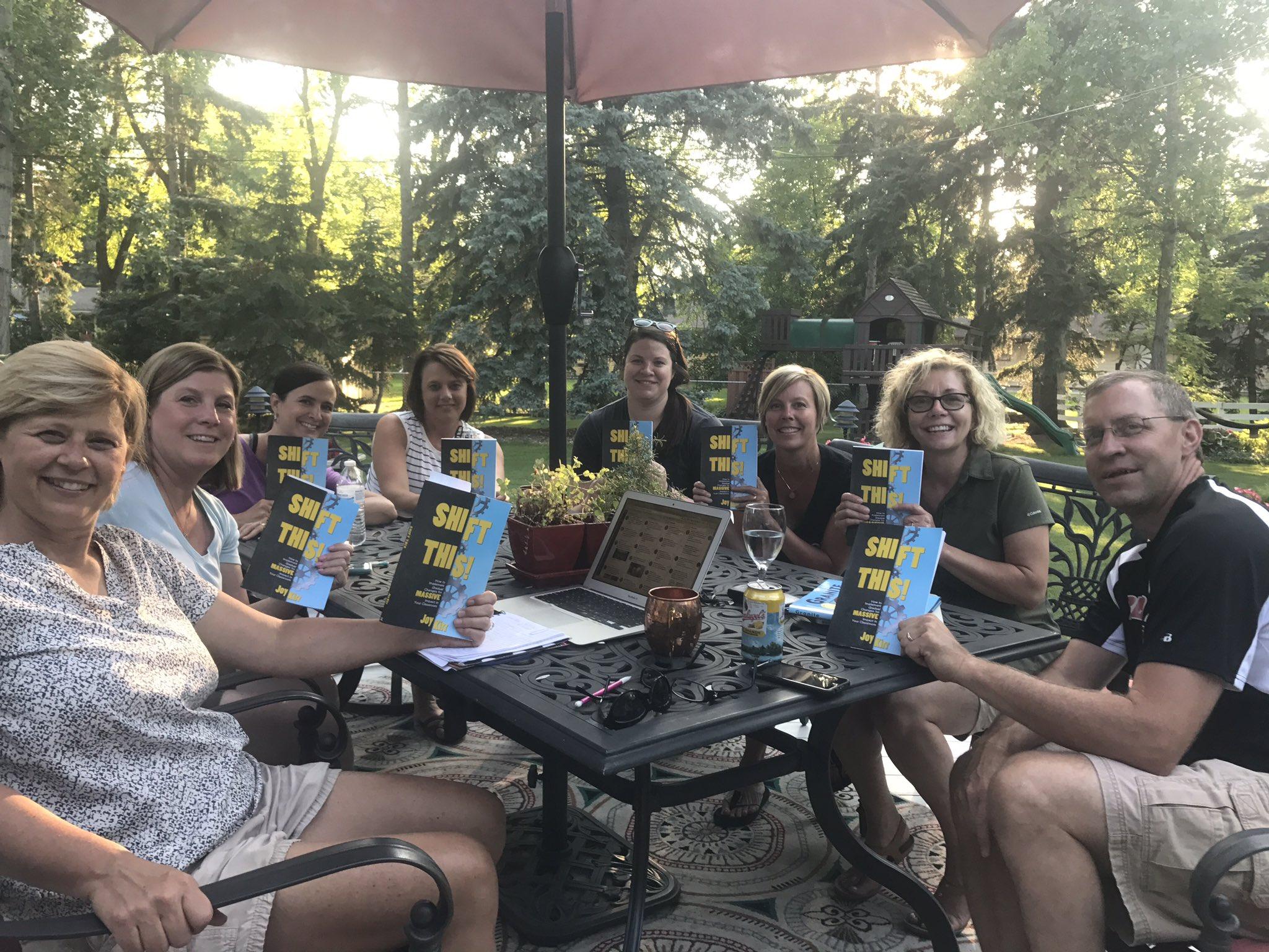 We're having a great discussion tonight on @mgaukler deck with @JoyKirr book #ShiftThis #gfedchat #SummerFun #JoyfulLeaders https://t.co/wShk4haP14