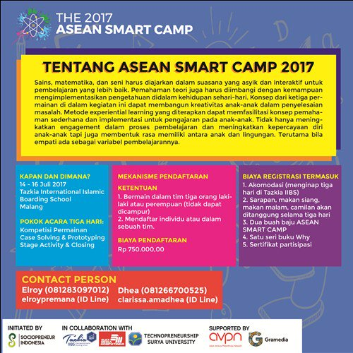 Event Malang On Twitter Asean Smart Camp 2017 Promotes Empathy Through Science Math And Art Registration Through Https T Co Gls4hwtxnc Https T Co 4rsxhhlxew