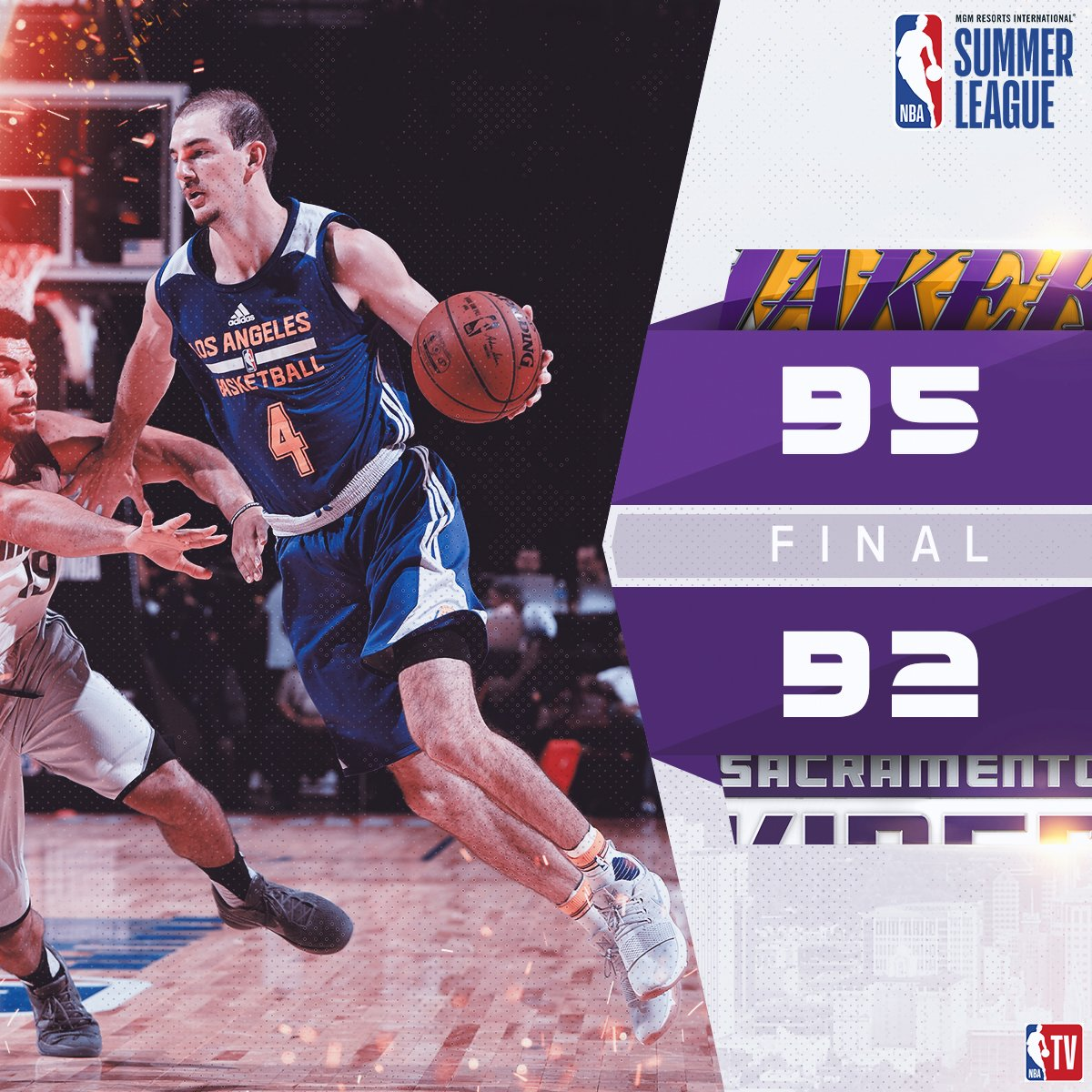 .@Lakers outlast the Kings 95-92 behind Alex Caruso's 18p/9a/4r/4s for their first win of MGM Resorts #NBASummer League! https://t.co/qWZ8o2EBnv