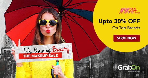 Nykaa Coupons → Monsoon SALE Offers Flat 50% OFF + Rs 100 OFF Code