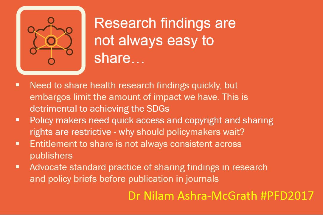 4 top messages from #Researchuptake specialist Dr Nilam Ashra-McGrath @TalkingEvidence at #PFD2017 - looking forward more live updates!<br>http://pic.twitter.com/2SbLrLJHlH