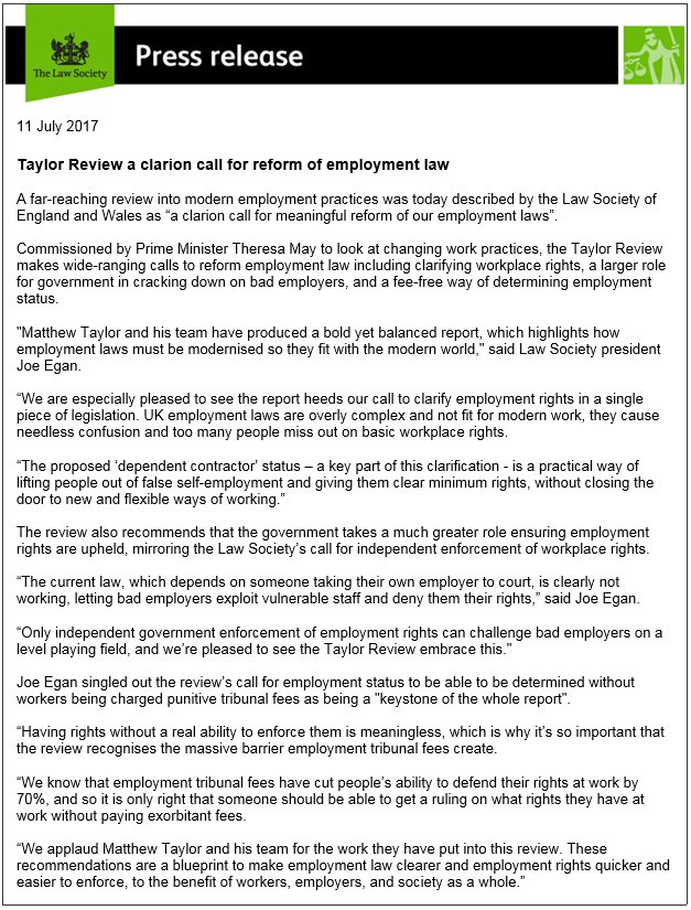 The law society on twitter news taylor review a clarion call for clarion call for reform of employment law httpslawsocietynewspress releasestaylor review a clarion call for reform of employment law malvernweather Gallery