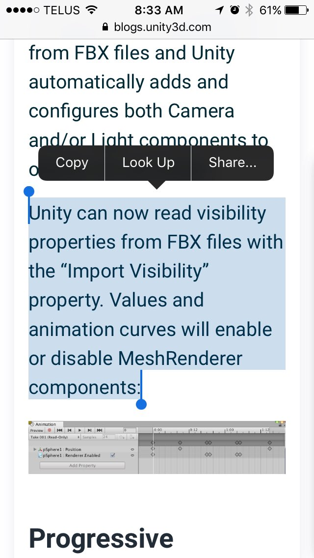 Unity 2017.1 can now read visibility from FBX files! Great news - I've wanted this forever!! #unitytips https://t.co/dKoNksUNfG