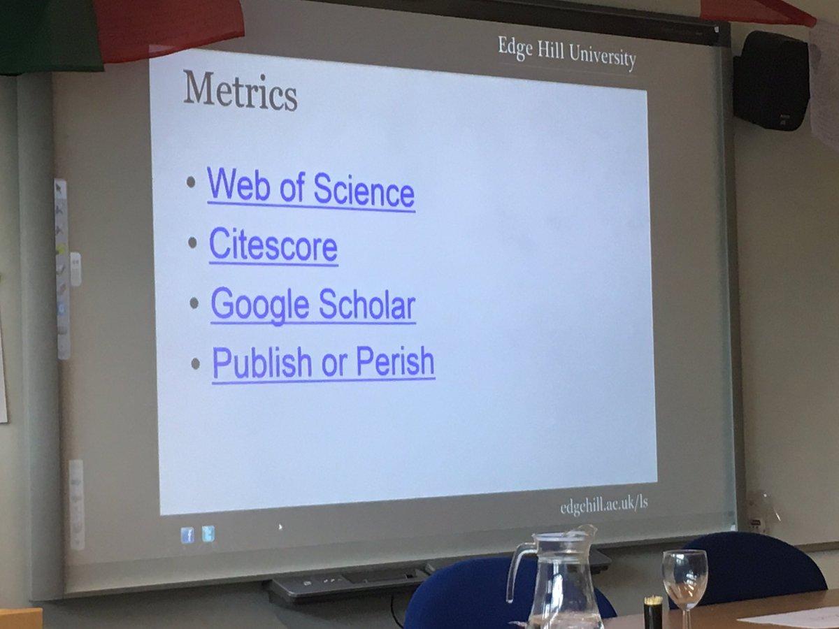 Metrics advice from @eco_lib #ACRE17 @EHU_FOE @webofscience #Citescore #GoogleScholar  https:// scholar.google.co.uk  &nbsp;   #PublishorPeril<br>http://pic.twitter.com/WuqUe18wTC