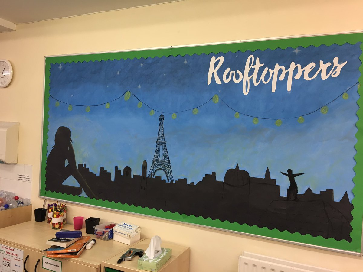 #Rooftoppers display ready for next year! @kdbrundell @clpe1 @PrimaryRocks1 kids are already intrigued @ReadingRocks_17pic.twitter.com/FSyT80jTdl