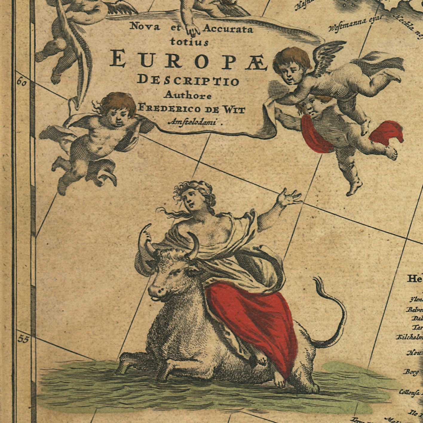 The abduction of Europa by Zeus (who transformed himself into a white bull) is depicted on this 1700 map by de Wit  https://t.co/JDkYcmXjh4 https://t.co/CHaqjnJihX