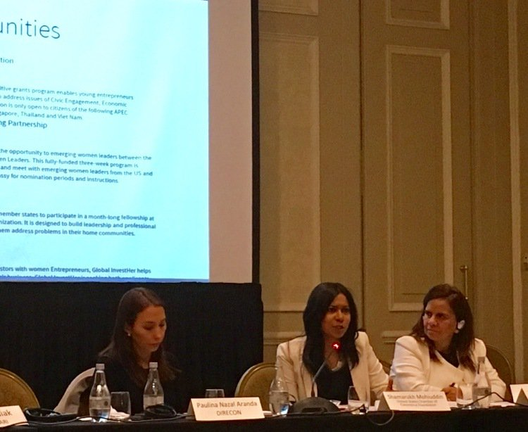 What works in women's leadership in business? USCCF's @ShamarukhM in Chile speaking on best practices, with Amb Perez. #USCCFWomen https://t.co/tEgdZ9MbhN