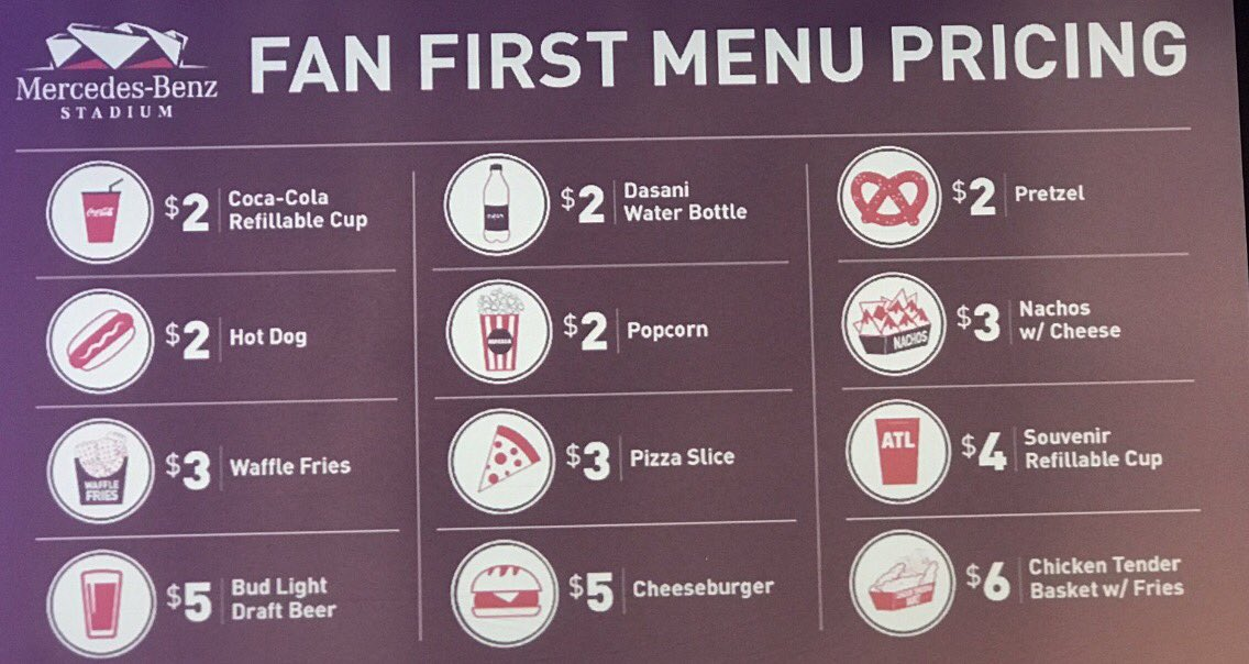 "Falcons confirm Mercedes-Benz Stadium will open on August 26. Here are their ""fan friendly"" concession prices"
