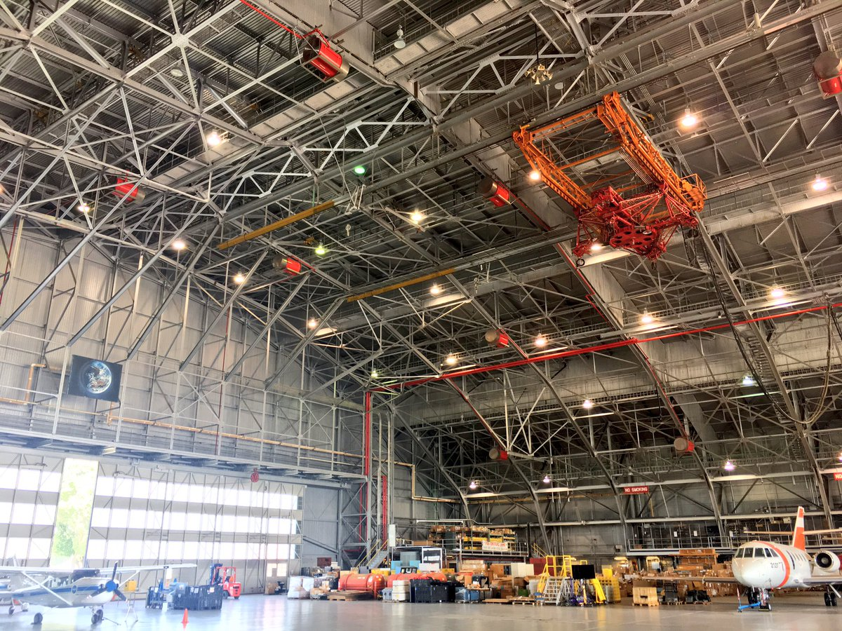 Gemini and Apollo astronauts practiced docking in this hangar. Right: Gemini sim, 1964. #NASALangley100 #NASASocial
