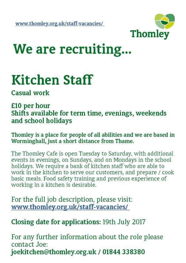 Thomley On Twitter We Are Recruiting For Kitchen Staff