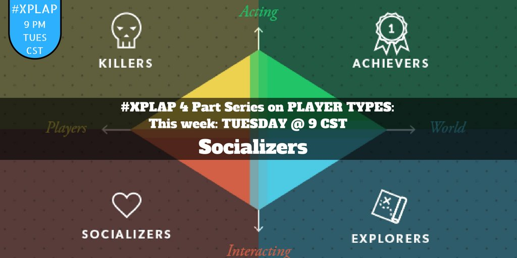 Welcome to #XPLAP chat! Tonight's topic: Socializers! Please introduce yourself & get ready for an awesome hour! #tlap #ditchbook #games4ed https://t.co/aMCKZVEQGS