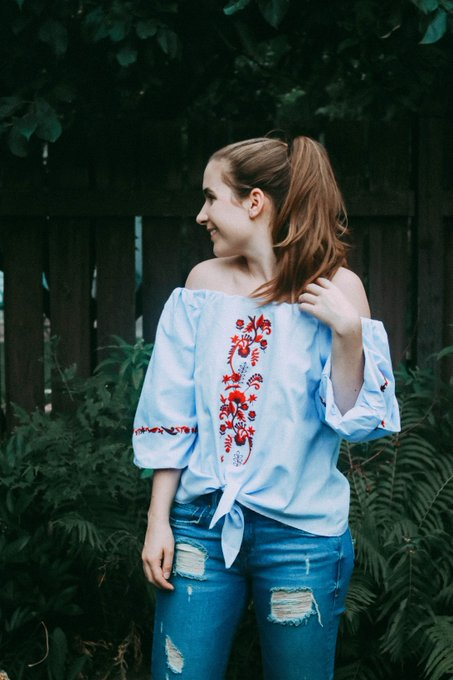Blue Off Shoulder Floral Embroidered Blouse