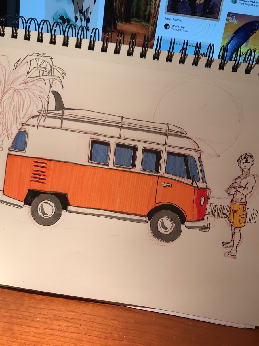 #beach #volkswagen #microbus #beach #surferdude concept #sketch #drawing #illustration #follybeach #charleston #doodlebags #art<br>http://pic.twitter.com/BthsFJTA5Z