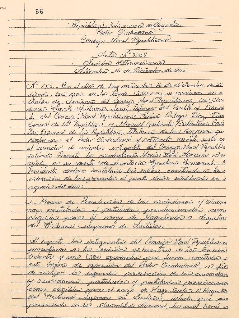 DESMONTADA MENTIRA OFICIAL:Actas que no firmaron TWSaab ni Fiscal Ortega en el Consejo Moral Republicano aprobando selección Magistrados TSJ